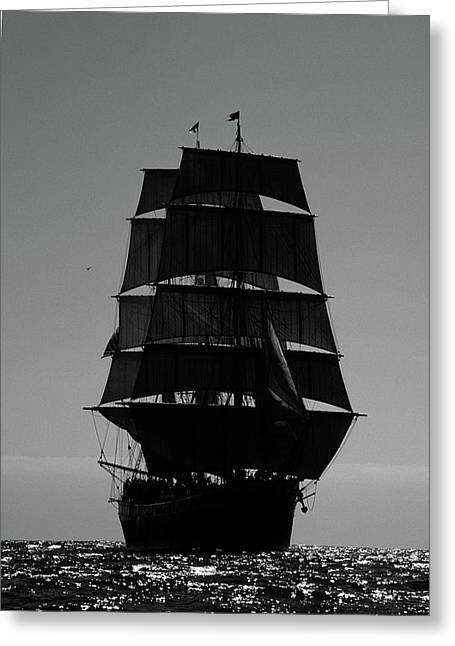 Back Lit Tall Ship Greeting Card