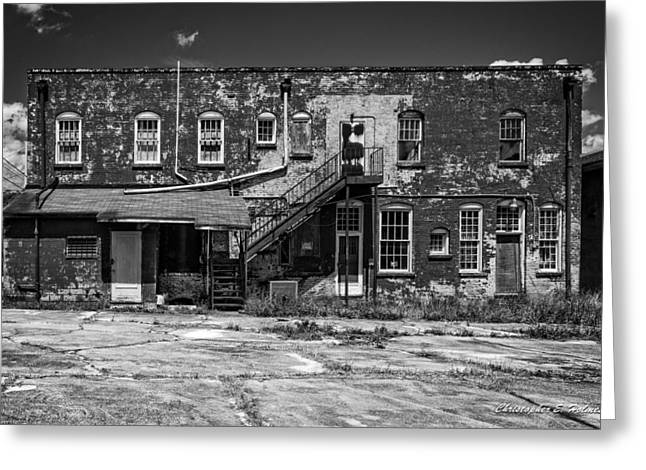 Greeting Card featuring the photograph Back Lot - Bw by Christopher Holmes