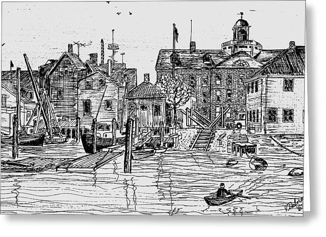 Back Of The Boat Yard On Eel Pond Greeting Card