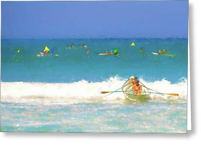 Back Out To Sea Lifeboat Race Watercolor Greeting Card