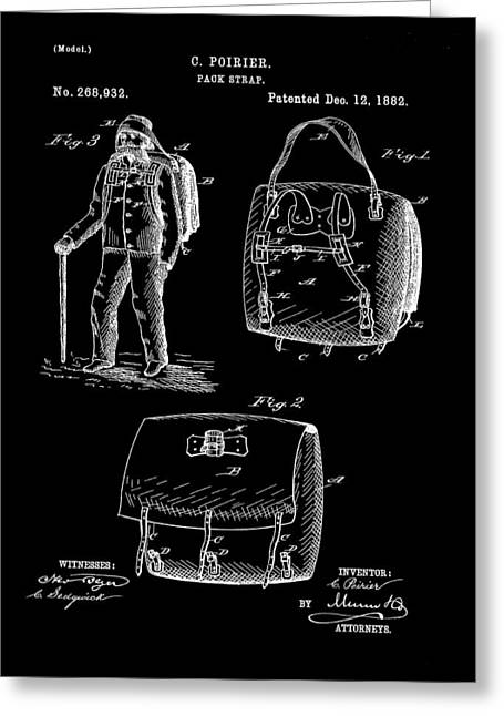 Back Pack Patent 1882 Black Greeting Card by Bill Cannon