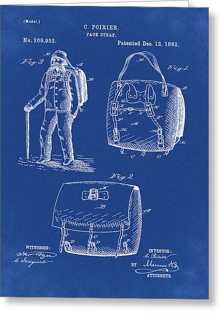Back Pack Patent 1882 Blue Greeting Card by Bill Cannon