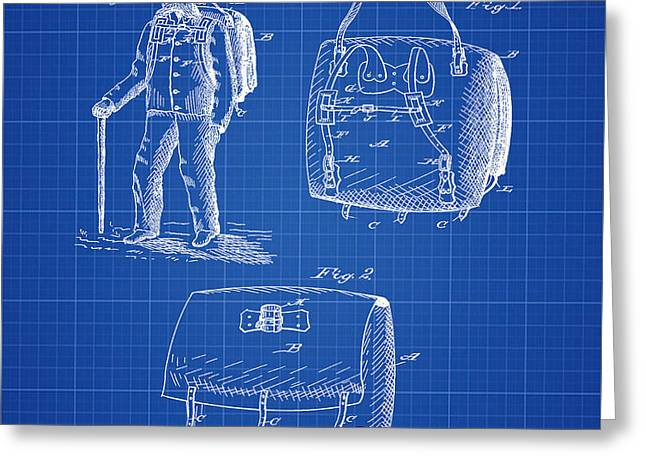 Back Pack Patent 1882 Blueprint Greeting Card by Bill Cannon