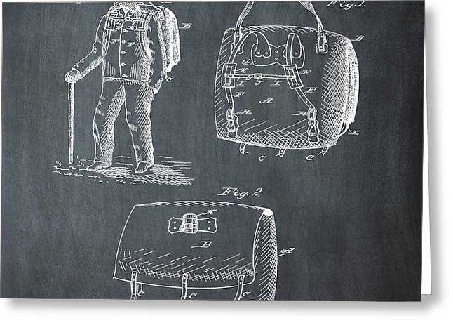 Back Pack Patent 1882 Chalk Greeting Card by Bill Cannon