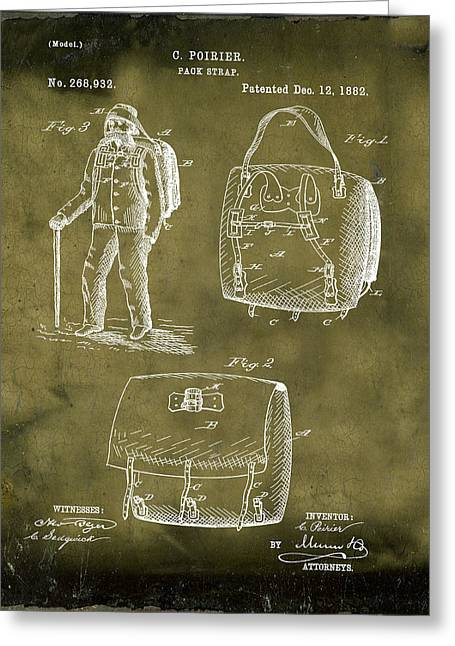 Back Pack Patent 1882 Grunge Greeting Card by Bill Cannon