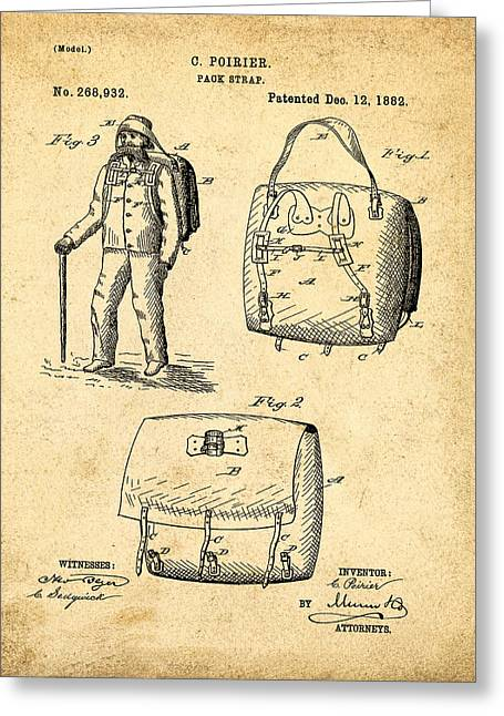 Back Pack Patent 1882 Sepia Greeting Card by Bill Cannon