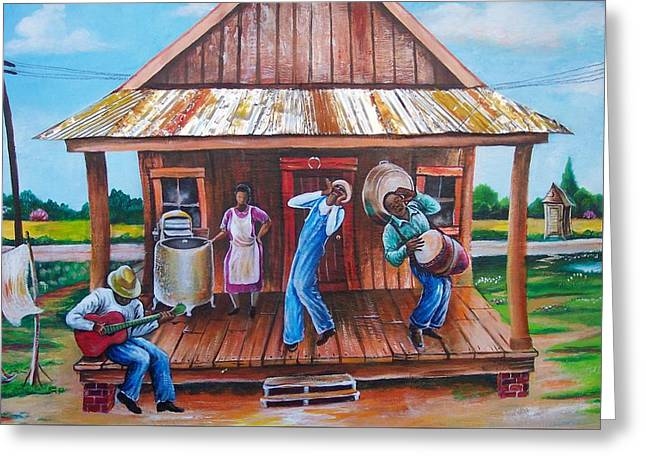 Back Porch Jamming Greeting Card by Arthur Covington