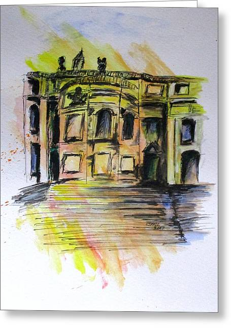 Greeting Card featuring the painting Back Side Basilca St Mary Major by Clyde J Kell