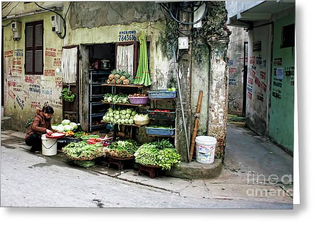 Back Street Veggies Store I Greeting Card by Chuck Kuhn