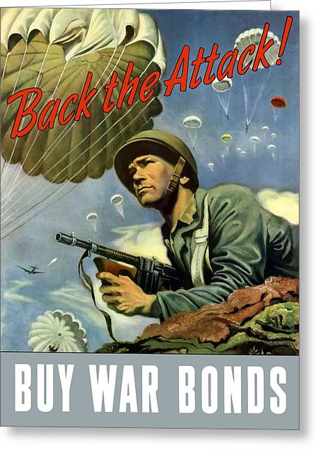 Back The Attack Buy War Bonds Greeting Card