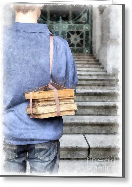 Back To School Watercolor Greeting Card by Edward Fielding