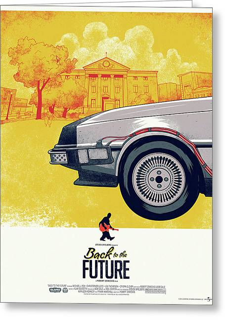 Back To The Future 1 Delorean Greeting Card