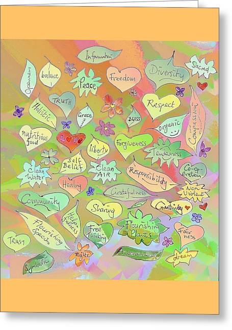 Back To The Garden Leaves, Hearts, Flowers, With Words Greeting Card