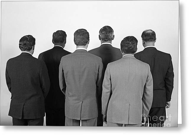 Back-view Of Six Business Men, C.1960s Greeting Card