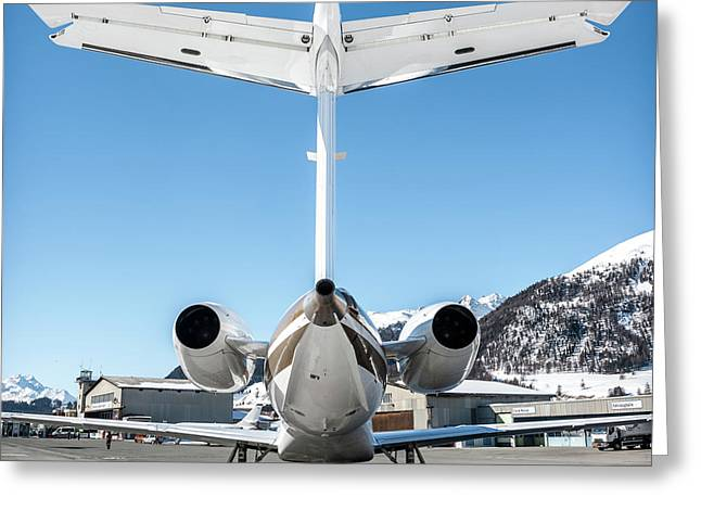 Back View Of This Embraer Legacy 600 Ok-sun Greeting Card by Roberto Chiartano