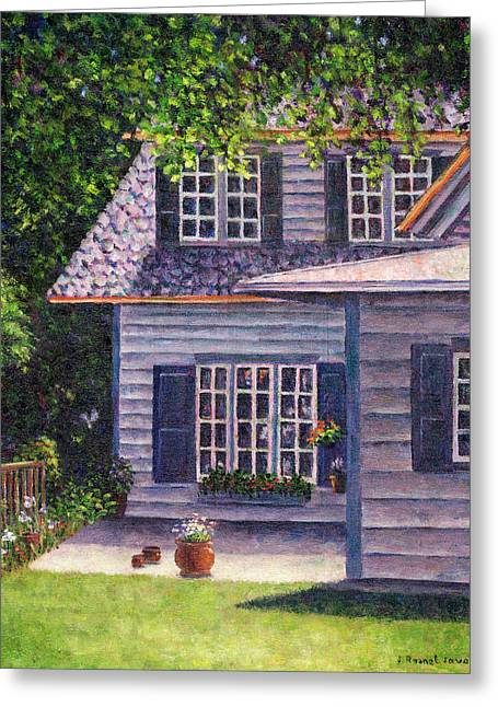 Back Yard With Flower Pots Greeting Card