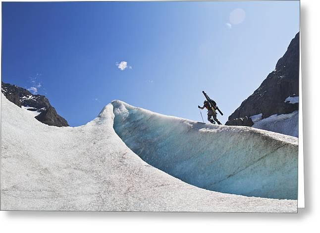 Backcountry Skier Above The Eklutna Greeting Card