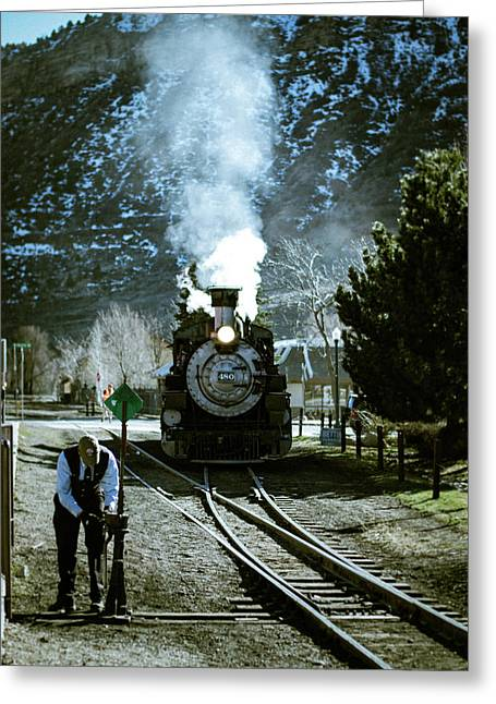 Greeting Card featuring the photograph Backing Into The Station by Jason Coward