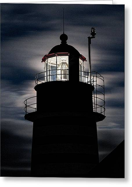 Backlight By Moonlight West Quoddy Head Lighthouse Greeting Card by Marty Saccone