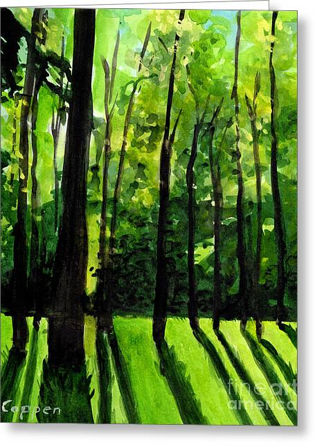 Greeting Card featuring the painting Backlit Forest by Robert Coppen