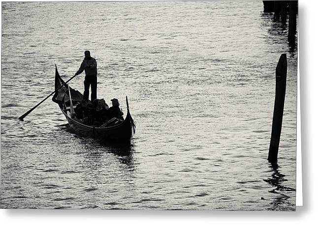 Greeting Card featuring the photograph Backlit Gondola, Venice, Italy by Richard Goodrich