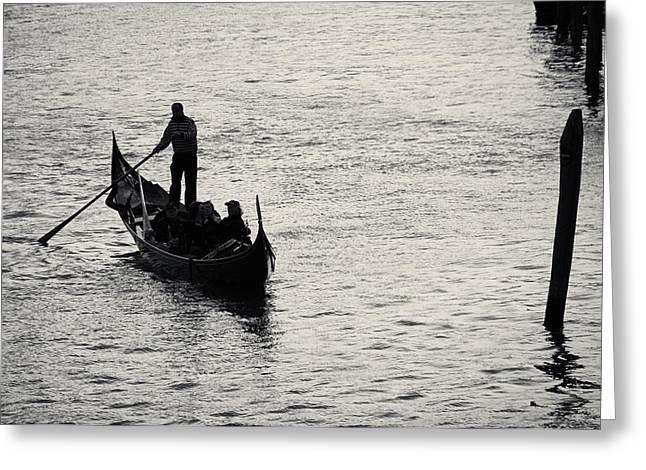 Backlit Gondola, Venice, Italy Greeting Card by Richard Goodrich