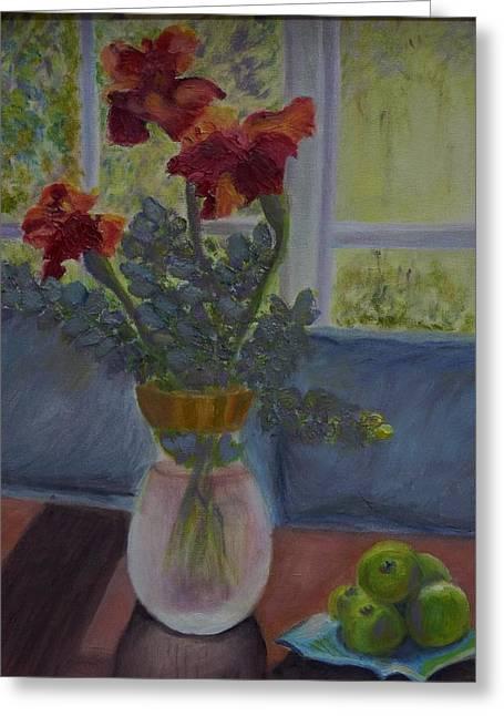 Backlit Irises Greeting Card by Bonnie Hanly