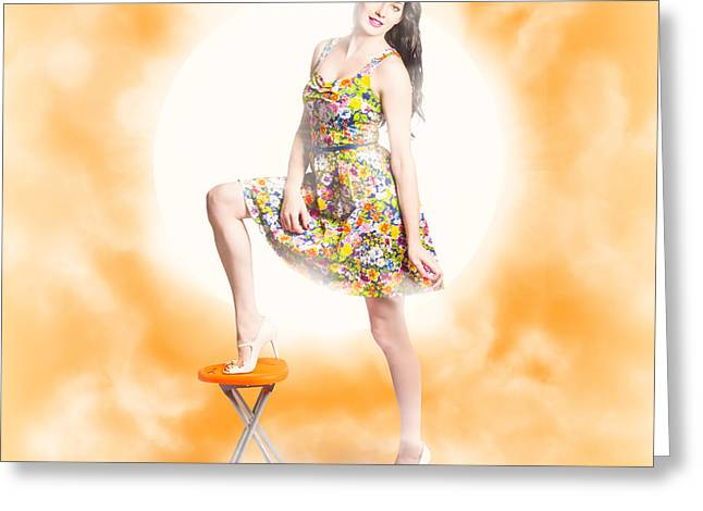 Backlit Pin-up Beauty Greeting Card by Jorgo Photography - Wall Art Gallery