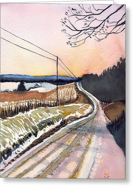 Backlit Roads Greeting Card