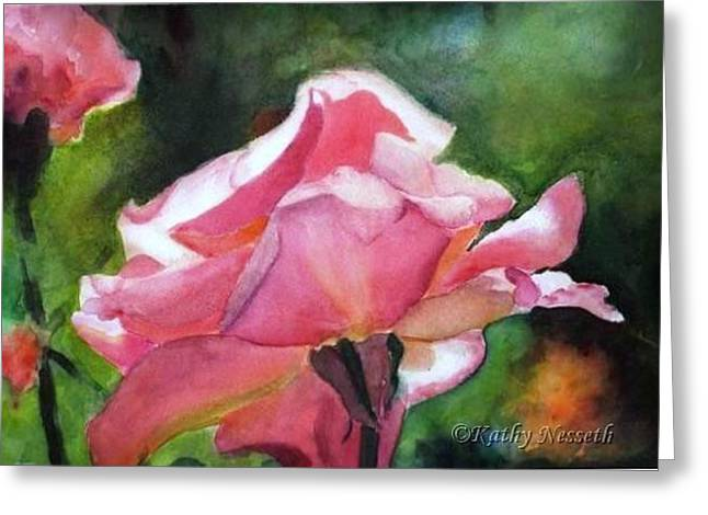 Backlit Rose Greeting Card by Kathy Nesseth