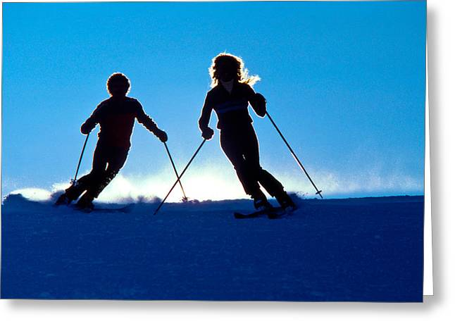 Powder Greeting Cards - Backlit Skiers Two Greeting Card by Vance Fox