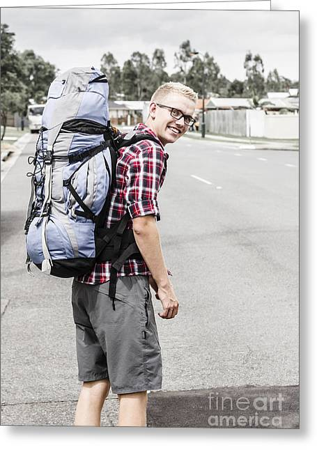 Backpacking Man On Travel Adventure Greeting Card by Jorgo Photography - Wall Art Gallery