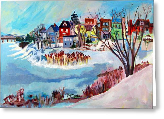 Backside Of Schenectady Stockade In February Greeting Card