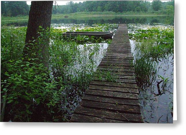 Backwater Pier Greeting Card by Michael L Kimble