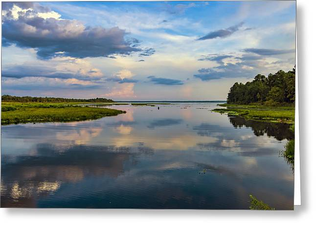Backwater Sunset Greeting Card