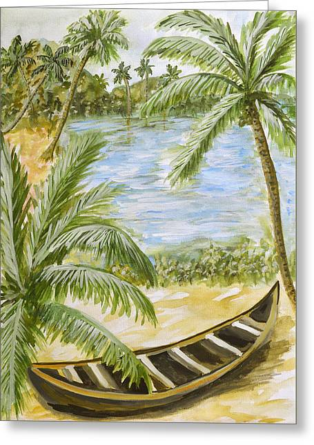 Backwaters Of Kerala - Dad For You Greeting Card by Thecla Correya