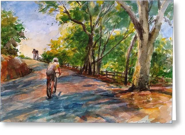 Backwoods Pedaling Greeting Card by Peter Salwen