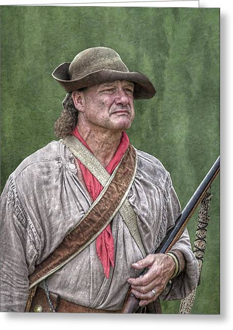 Seven Years War Greeting Cards - Backwoodsman Hunter Portrait  Greeting Card by Randy Steele