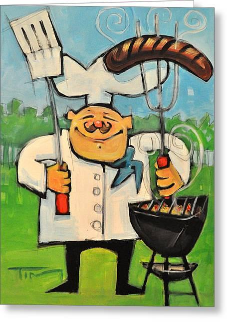 backyard bistro greeting card by tim nyberg