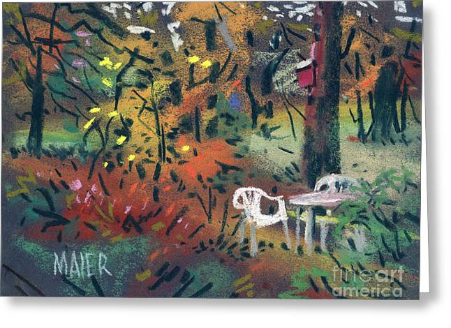 Backyard In Autumn Greeting Card by Donald Maier
