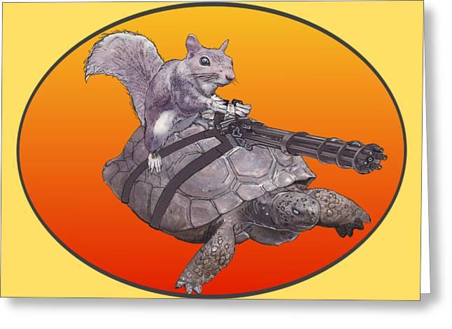 Greeting Card featuring the digital art Backyard Modern Warfare Crazy Squirrel by David Mckinney