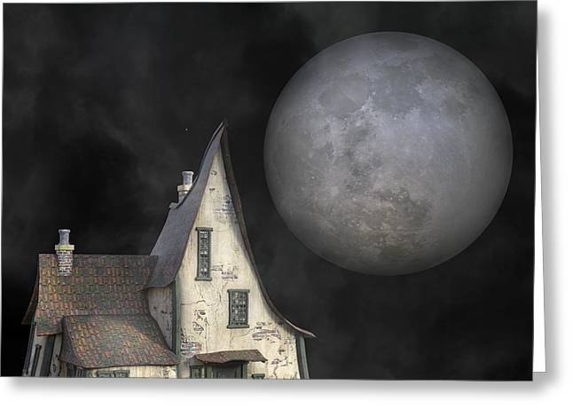 Backyard Moon Super Realistic  Greeting Card by Betsy Knapp