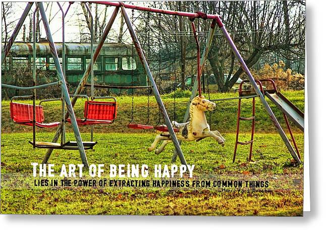 Greeting Card featuring the photograph Backyard Play Quote by Dressage Design