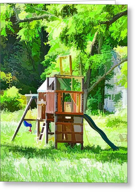 Backyard With Wooden Playground  Greeting Card