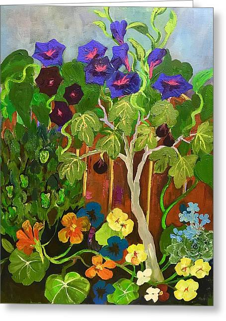 Backyard Wonders Greeting Card by Esther Woods