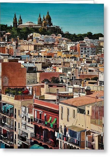 Backyards Of Barcelona Greeting Card