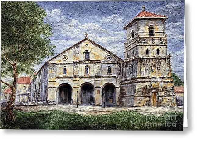 Greeting Card featuring the painting Baclayon Church by Joey Agbayani