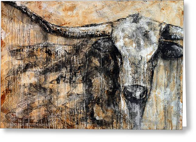 Bad Attitude Texas Longhorn Contemporary Painting Greeting Card