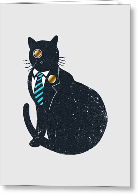 Bad Black Cat Greeting Card by Illustratorial Pulse