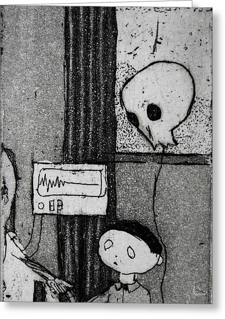 Greeting Card featuring the mixed media Bad News Balloon by Josean Rivera